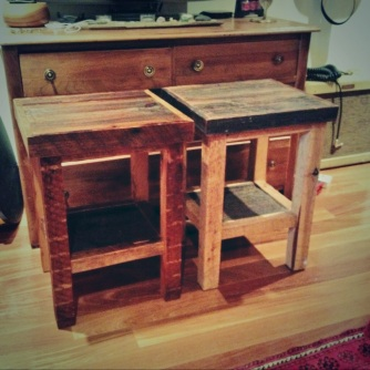 barnboard bedside tables