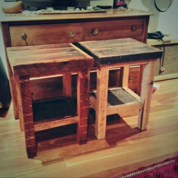 barnboard bedside tables