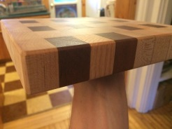 endgrain cutting board -oak walnut maple