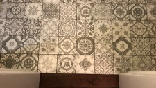 foyer tile against oak hardwood